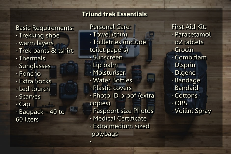 Triund Trek gear